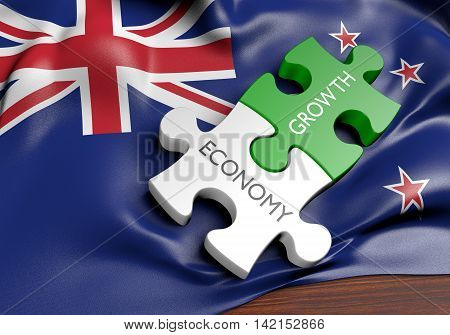 New Zealand economy and financial market growth concept, 3D rendering