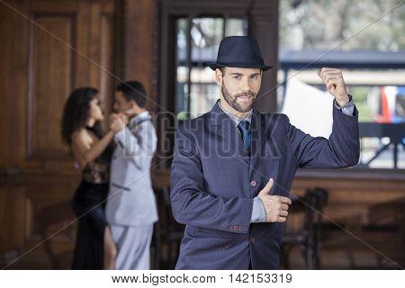 Handsome Tango Dancer Performing In Restaurant