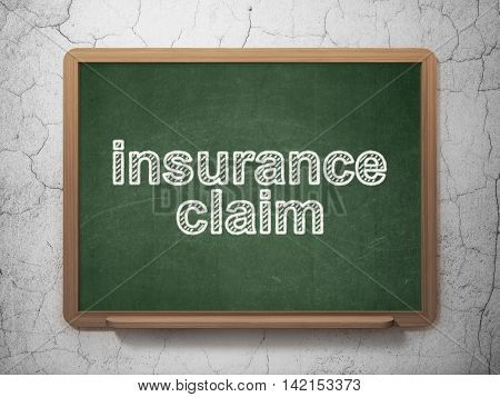 Insurance concept: text Insurance Claim on Green chalkboard on grunge wall background, 3D rendering