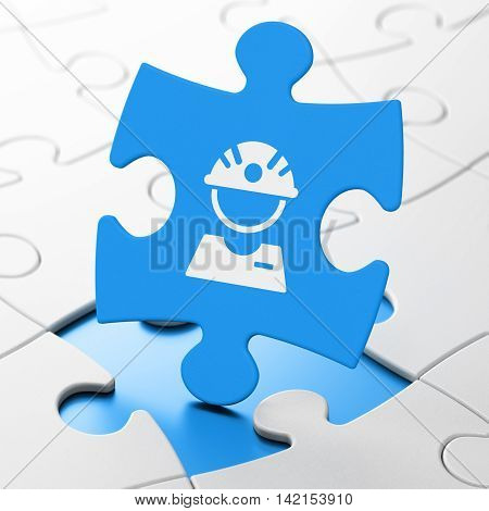 Industry concept: Factory Worker on Blue puzzle pieces background, 3D rendering