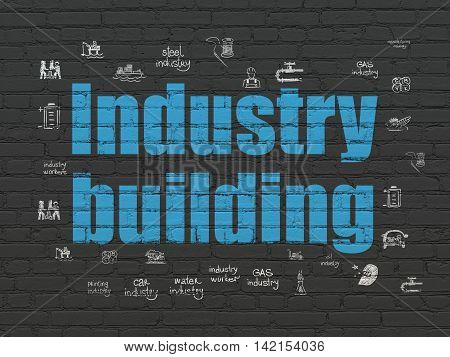 Manufacuring concept: Painted blue text Industry Building on Black Brick wall background with  Hand Drawn Industry Icons