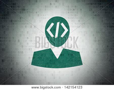 Programming concept: Painted green Programmer icon on Digital Data Paper background