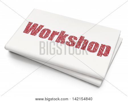 Studying concept: Pixelated red text Workshop on Blank Newspaper background, 3D rendering