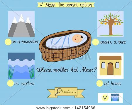 Task for the children which was hidden little Moses. A biblical story. Sunday school. Old Testament