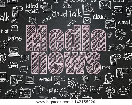 News concept: Chalk Pink text Media News on School board background with  Hand Drawn News Icons, School Board