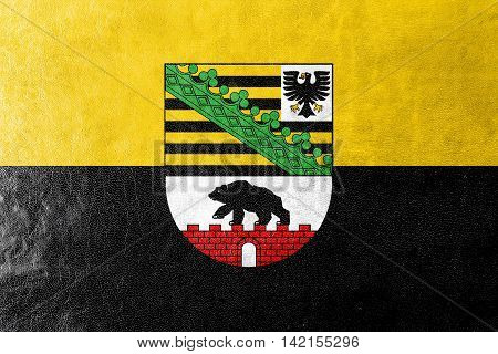 Flag Of Saxony-anhalt With Coat Of Arms, Germany, Painted On Leather Texture