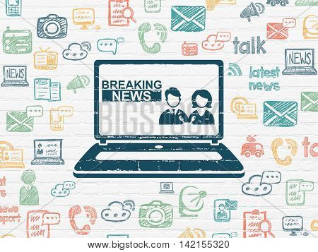 News concept: Painted blue Breaking News On Laptop icon on White Brick wall background with  Hand Drawn News Icons