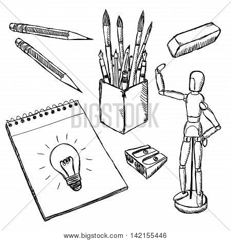 Art equipment doodles. Drawing and painting art objects hand drawn. Illustration of artist creative supplies.