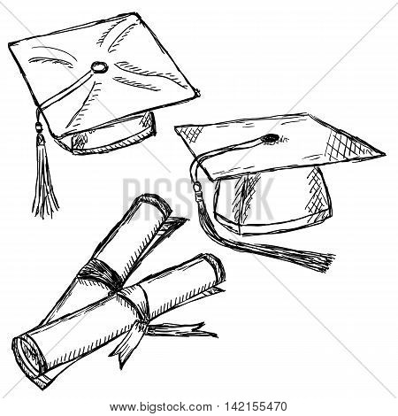 Graduation cap doodle. Graduation school hat and diploma sketches.