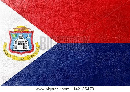Flag Of Sint Maarten, Painted On Leather Texture