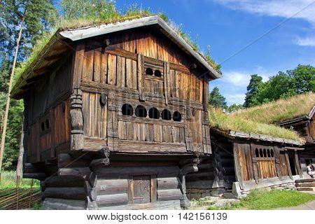 historic wooden norwegian house in open air museum, Oslo