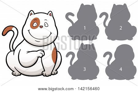 Vector Illustration of make the right choice and connect shadow matching - Cat