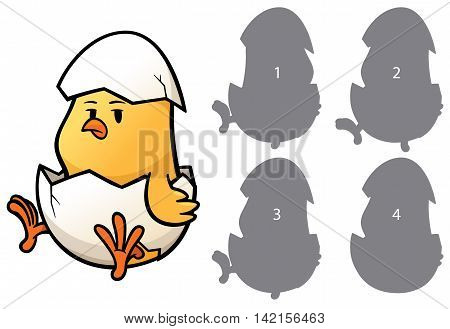 Vector Illustration of make the right choice and connect shadow matching - Chick