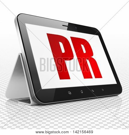 Marketing concept: Tablet Computer with red text PR on display, 3D rendering