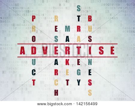 Advertising concept: Painted red word Advertise in solving Crossword Puzzle on Digital Data Paper background