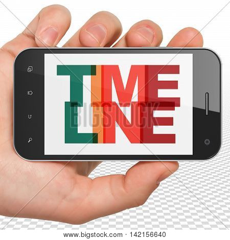 Timeline concept: Hand Holding Smartphone with Painted multicolor text Timeline on display, 3D rendering