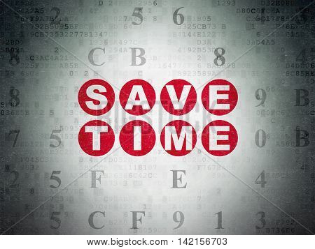 Time concept: Painted red text Save Time on Digital Data Paper background with Hexadecimal Code