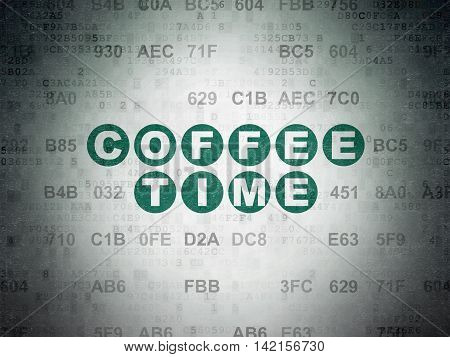 Time concept: Painted green text Coffee Time on Digital Data Paper background with Hexadecimal Code