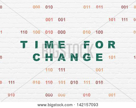 Timeline concept: Painted green text Time for Change on White Brick wall background with Binary Code