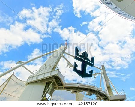 Barcelona Spain - September 07 2015: The cruise ship Allure of the Seas The Royal Caribbean International. The exterior view of the ship
