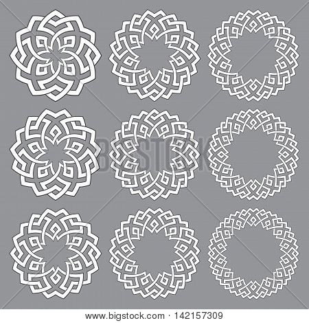 Set of round frames. Nine decorative elements for design with stripes braiding borders. White lines with black strokes on gray background.
