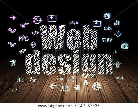Web development concept: Glowing text Web Design,  Hand Drawn Site Development Icons in grunge dark room with Wooden Floor, black background