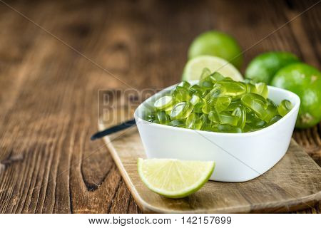 Heap Of Gummy Candy With Lime Taste