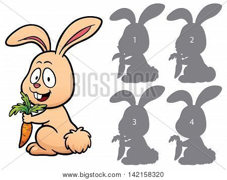 Vector Illustration of make the right choice and connect shadow matching - Rabbit
