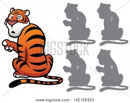 Vector Illustration of make the right choice and connect shadow matching - Tiger
