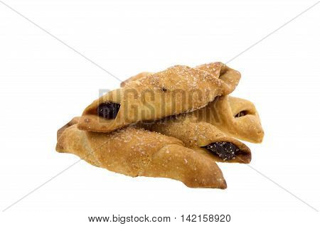 Homemade puff pastry with Apple jam lying on a white background