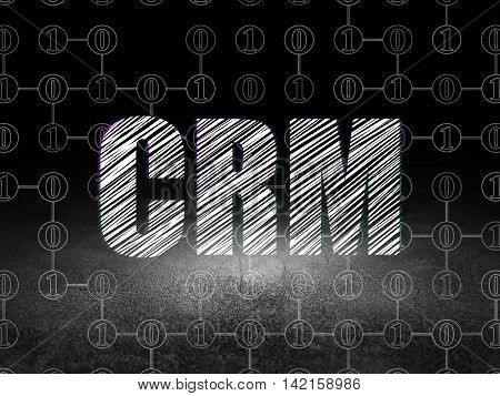 Business concept: Glowing text CRM in grunge dark room with Dirty Floor, black background with Scheme Of Binary Code