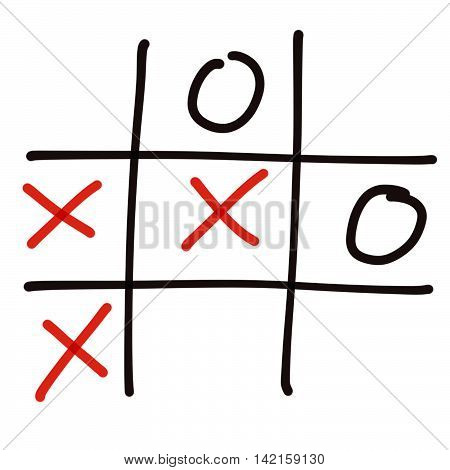 Illustration of tic tac toe game on white background