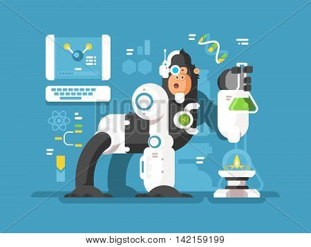 Robot monkey scientist make laboratory experiment. Vector flat illustration