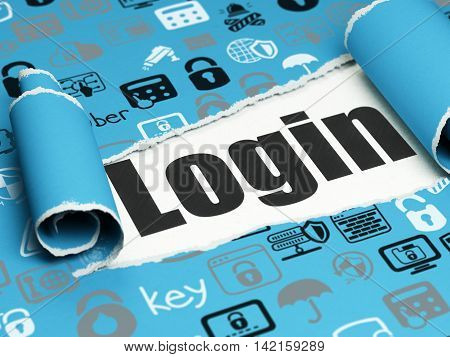 Privacy concept: black text Login under the curled piece of Blue torn paper with  Hand Drawn Security Icons, 3D rendering