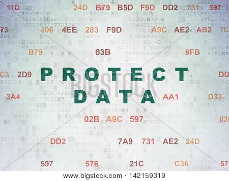 Protection concept: Painted green text Protect Data on Digital Data Paper background with Hexadecimal Code