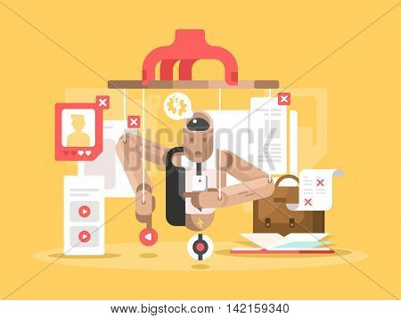 Internet dependent puppet. Man marionette controlled, vector flat illustration