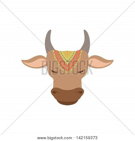 Head Of Indian Holy Cow Country Cultural Symbol Illustration. Simplified Cartoon Style Drawing Isolated On White Background