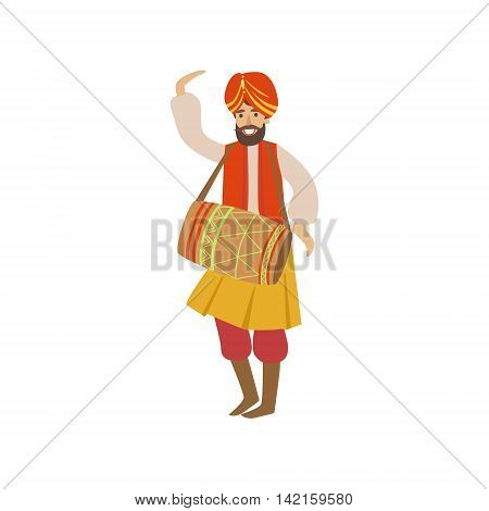 Man In Indian National Outfit Playing Drum Country Cultural Symbol Illustration. Simplified Cartoon Style Drawing Isolated On White Background