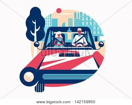 Driver driving a car. Control of vehicle. Vector flat illustration