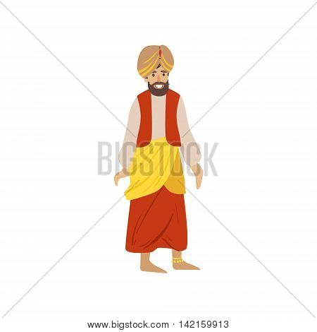 Man Wearing National Indian Costume Country Cultural Symbol Illustration. Simplified Cartoon Style Drawing Isolated On White Background