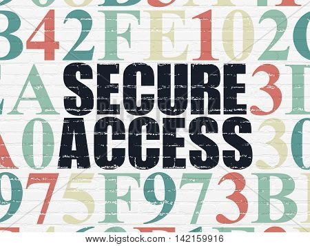 Security concept: Painted black text Secure Access on White Brick wall background with Hexadecimal Code