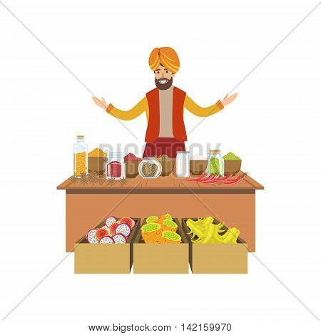 MAn Selling Spices On Indian Market Country Cultural Symbol Illustration. Simplified Cartoon Style Drawing Isolated On White Background
