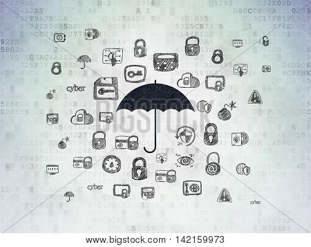 Security concept: Painted black Umbrella icon on Digital Data Paper background with  Hand Drawn Security Icons
