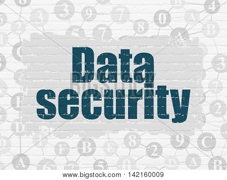 Protection concept: Painted blue text Data Security on White Brick wall background with Scheme Of Hexadecimal Code