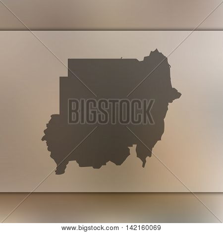 Sudan map on blurred background. Blurred background with silhouette of Sudan. Sudan. Blurred background. Sudan silhouette. Sudan vector map. Sudan flag.