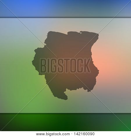 Surinam map on blurred background. Blurred background with silhouette of Surinam. Surinam. Blurred background. Surinam silhouette. Surinam vector map. Surinam flag.