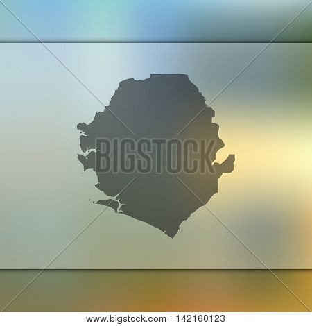 Sierra Leone map on blurred background. Blurred background with silhouette of Sierra Leone. Sierra Leone. Blurred background. Sierra Leone silhouette. Sierra Leone vector map. Sierra Leone flag.