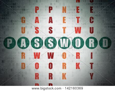 Protection concept: Painted green word Password in solving Crossword Puzzle on Digital Data Paper background