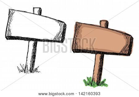 Set of doodle wooden sign boards on a grass .Vector illustration isolated on white. Hand drawn sketch of signs.