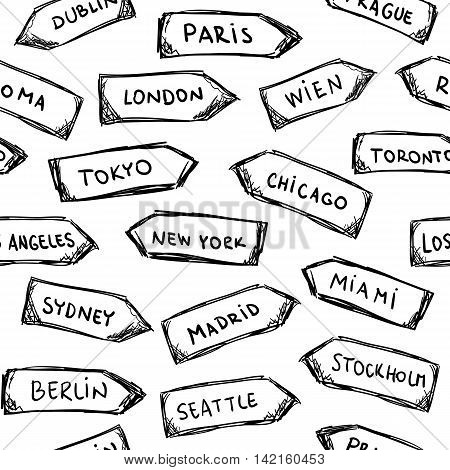 Set of doodle wooden sign boards with cities. .Vector illustration isolated on white. Hand drawn sketch of signs. Seamless pattern.